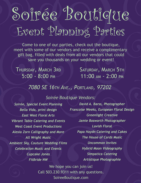 soiree boutique event planning parties